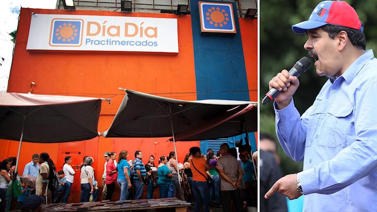 Nicolas Maduro, president i Venezuela, och livsmedelskedjan Dia Dia. Foto: TT