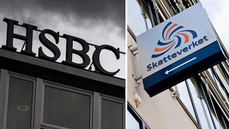 Delad bild: Banken HSBC och Skatteverket i Sverige. Foto: Fabrice Coffrini/AFP samt Christine Olsson/TT.
