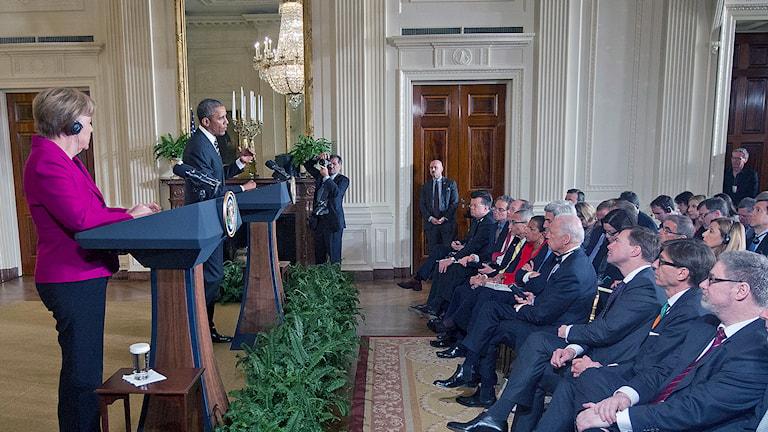 Tyska förbundskansler Angela Merkel och USA:s president Barack Obama. Foto: AP Photo / Pablo Martinez Monsivais / TT.