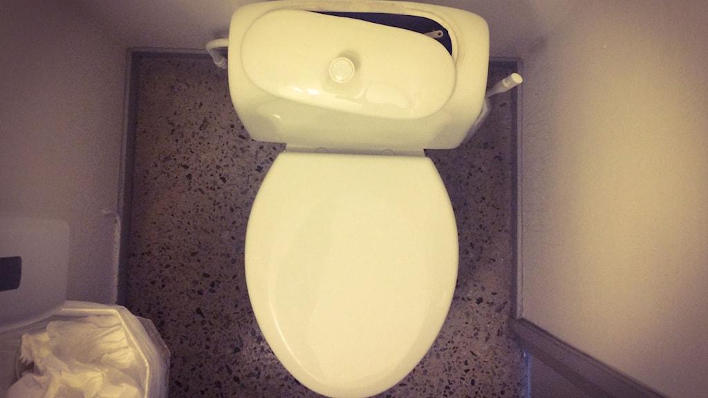 Här i toalettens vattentank till exempel kan det gå att hitta rent vatten om det krisar. FOTO: Marcus Eriksson/SR