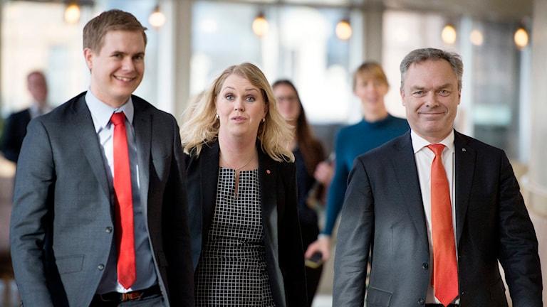 Gustav Fridolin (MP), Lena Hallengren (S) och Jan Björklund (FP). Foto: TT