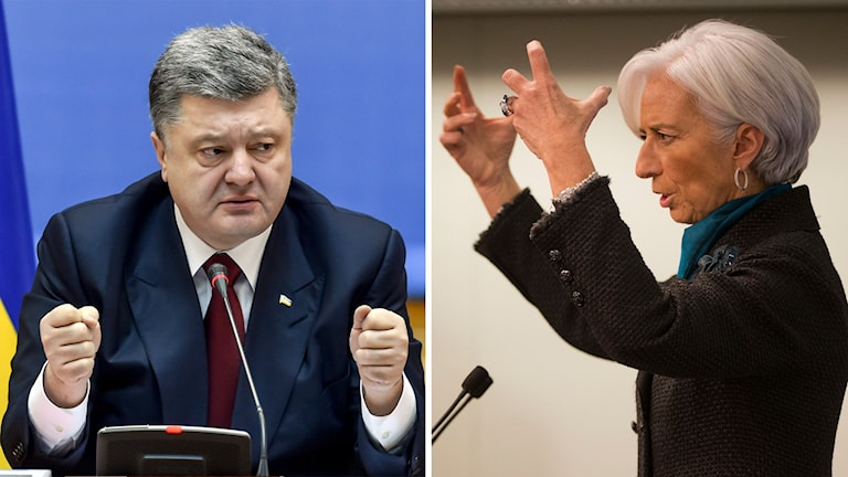 Ukrainas president Petro Porosjenko och IMF-chefen Christine Lagarde. Foto. TT