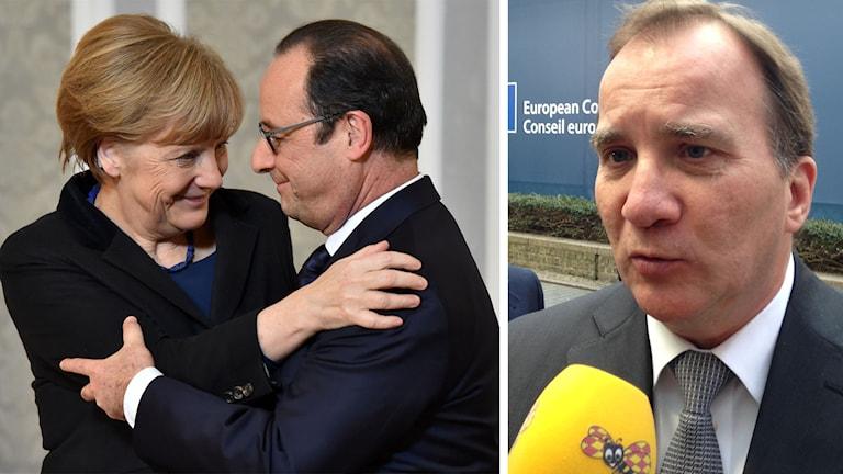 Merkel och Hollande ska redogöra avtalet för Stefan Löfven och EU:s övriga regeringschefer. Foto TT/SR