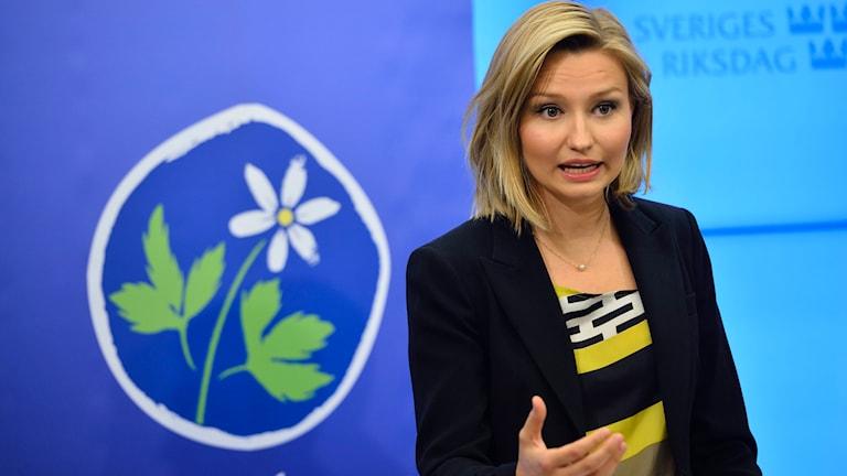 Ebba Busch Thor som är kristdemokratiskt kommunalråd i Uppsala meddelar att hon ställer upp i valet till ny partiledare. Foto: Henrik Montgomery/TT.