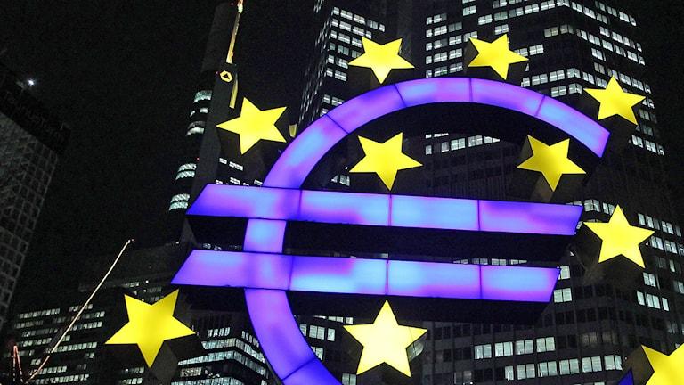 Skylt utanför den europeiska centralbanken. Foto: Daniel Roland.