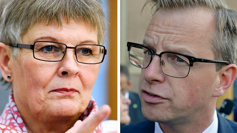 Delad bild: Maud Olofsson och Mikael Damberg. Foto: Leif R Jansson/TT samt Anders Wiklund/TT.