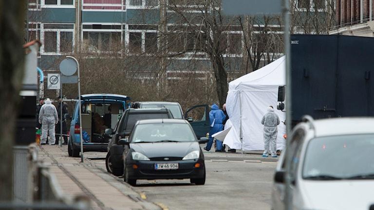 Avspärrningarna vid Nörrebro i Köpenhamn. Foto: TT