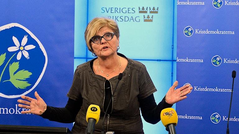 Chatrine Pålsson Ahlgren, ordförande för KD:s valberedning. Foto: Claudio Bresciani / TT.