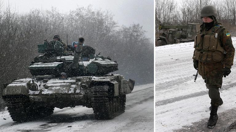 Ukrainska soldater på en väg mellan städerna Debaltseve och Artemivsk. Foto: TT