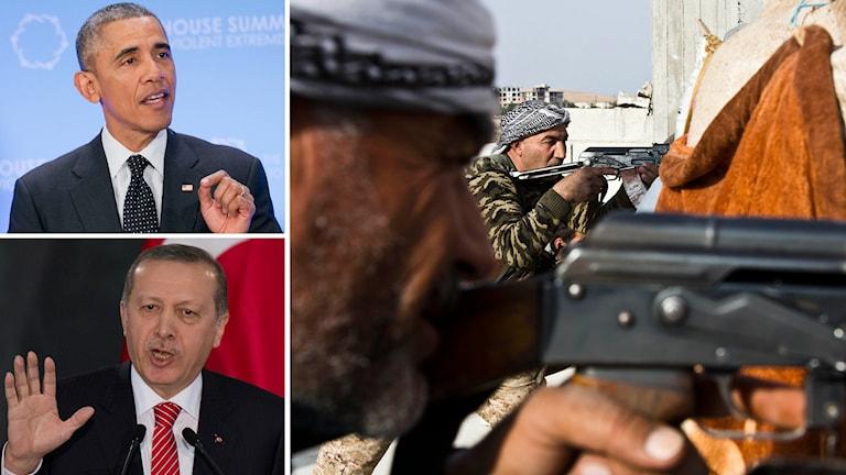 Barack Obama, USA:s president, och den turkiske presidenten Tayyip Erdogan, rebeller krigar mot IS i Syrien. Foto: TT