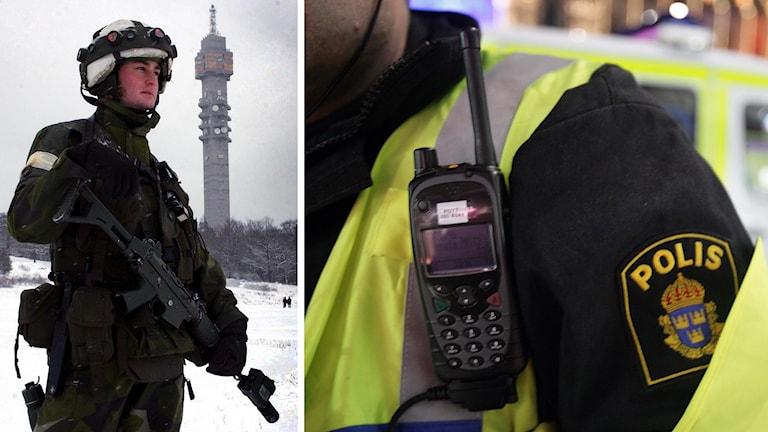 Svensk militär och polis. Foto: TT