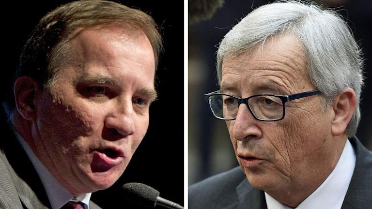 Delad bild: Statsminister Stefan Löfven och Jean-Claude Juncker. Foto: Björn Lindgren/TT samt Emmanuel Dunand/AFP.