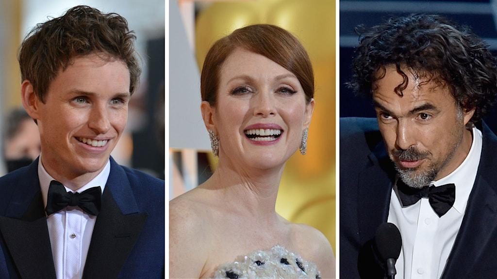 Eddie Remayne, bästa manliga huvudroll, Julianne Moore, bästa kvinnliga huvudroll,  Alexandro González Iñárritus Birdman vann Oscar för bästa film. Foto: TT/AP/AFP