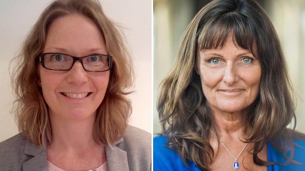 Märta Lycken, vars pojke dog i vecka 37, och Ingela Rådestad, barnmorska och professor vid Sophiahemmets Högskola i Stockholm.