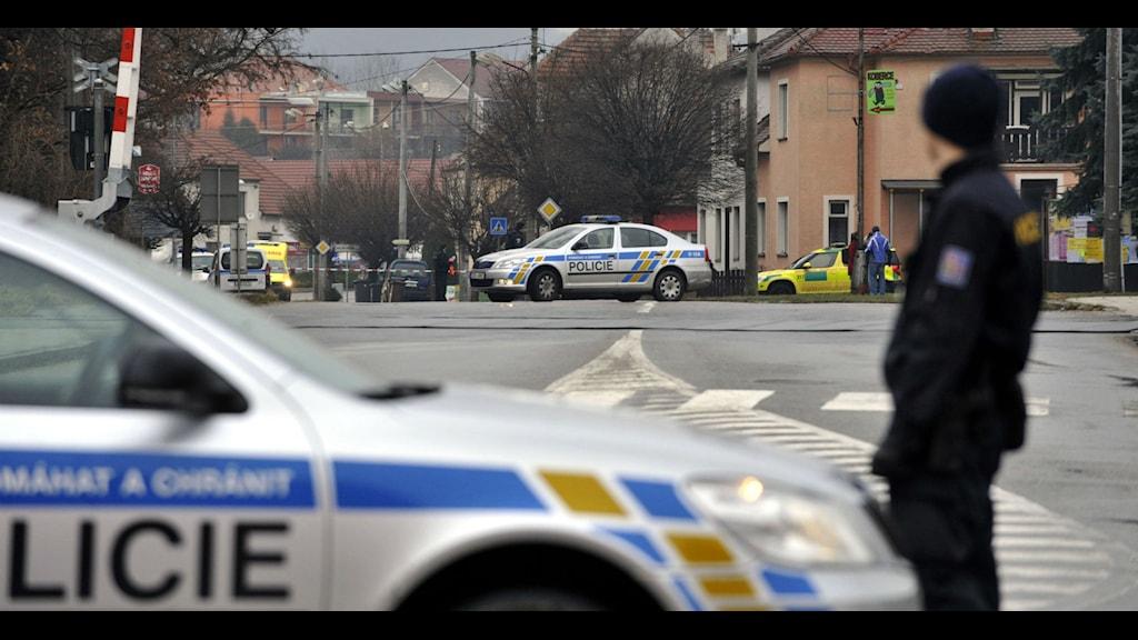 Flera personer dödades när en man sköt in i en restauran i den tjeckiska staden Uhersky Brod. Foto: Dalibor Gluck/AP/TT