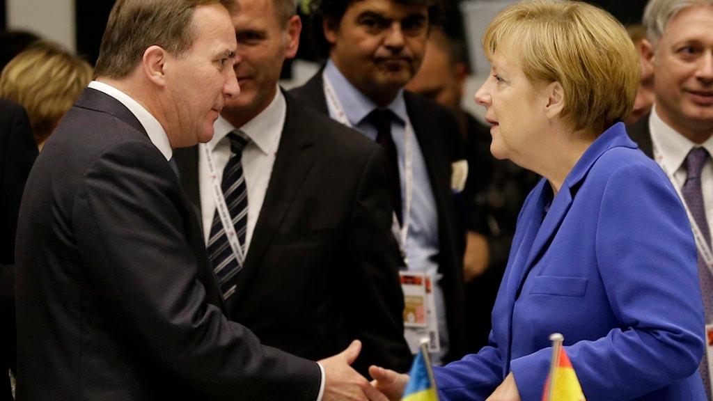 Stefan Löfven och Angela Merkel. Foto: Antonio Calanni/TT.