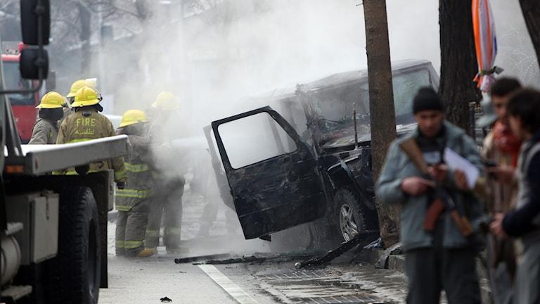Arkivbild. Bilden är från en självmordsattack utfördes mot en diplomatbil i Kabul 2015.