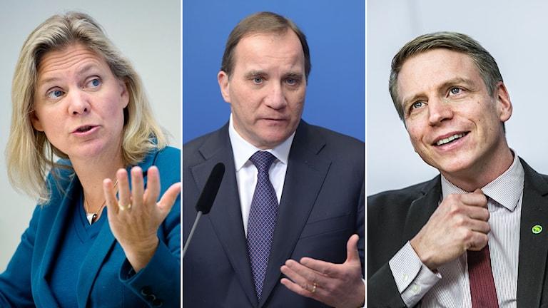 Finansminister Magdalena Andersson, statsminister Stefan Löfven och finansmarknadsminister Per Bolund.