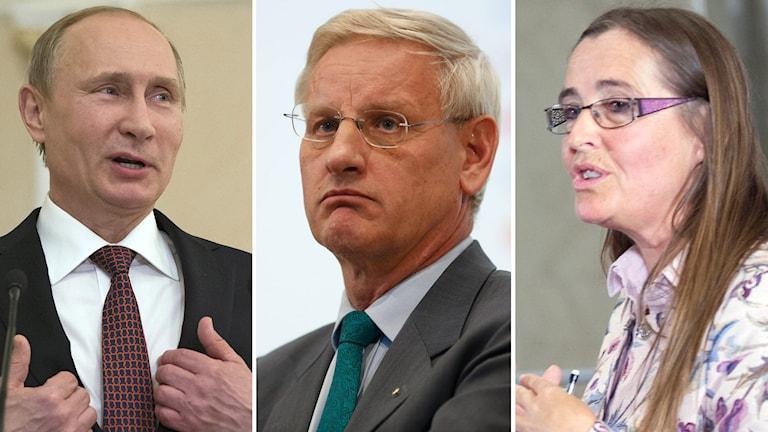 Vladimir Putin, Carl Bildt och Bodil Ceballos. Foto: TT
