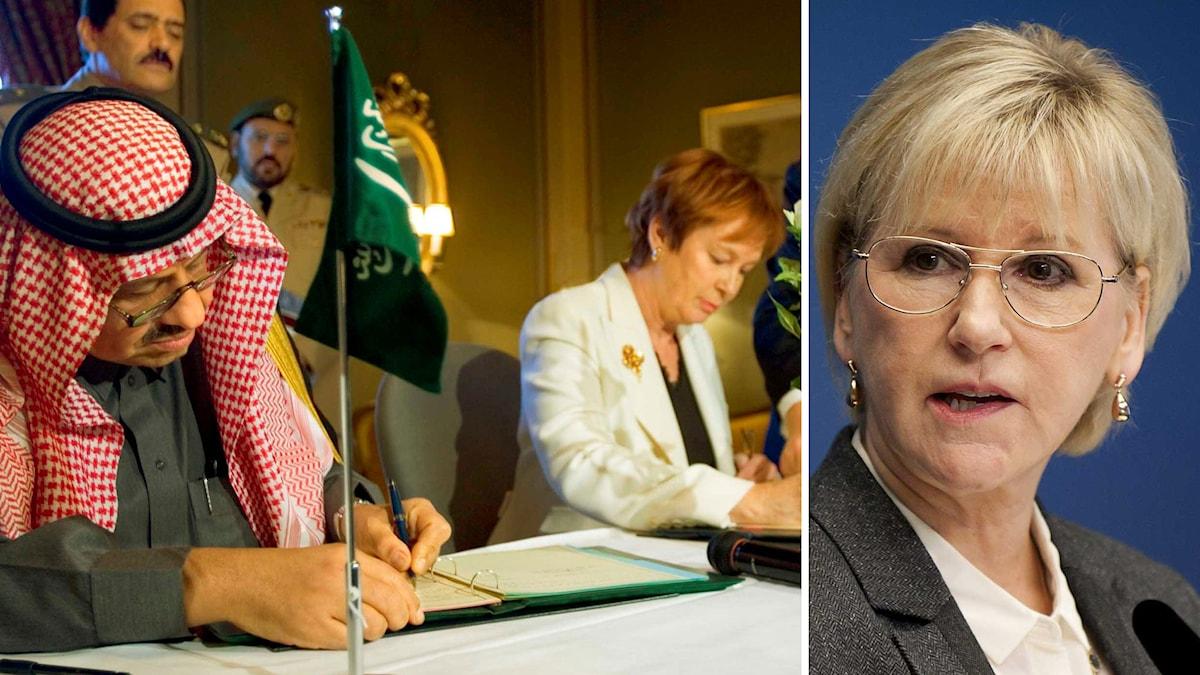 Margot Wallström (S), Sveriges utrikesminister, om Saudiavtalet. Foto: TT