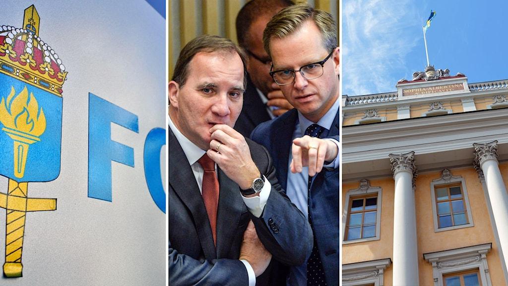 Symbolen för FOI, Stefan Löfven och Mikael Damberg, samt Utrikesdepartementet. Foto: Johan Nilsson/Henrik Montgomery/Jonas Ekströmer/TT.