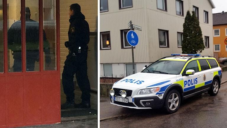 Polisen slår till på flera platser efter trippelmordet. Foto: SR