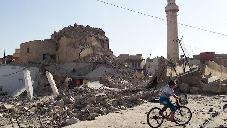 Pojke cyklar förbi den historiska Profeten Jirjis moské i Mosul förstörd av Islamiska staten