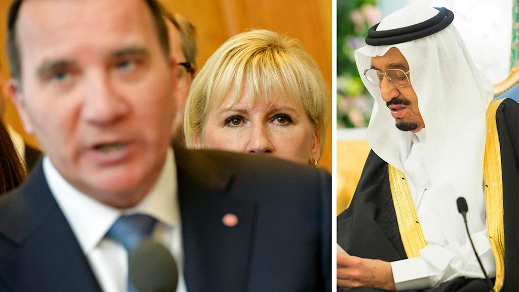 Delad bild: Stefan Löfven och Margot Wallström samt Saudiarabiens kung Salman bin Abdul Aziz. Foto: TT.