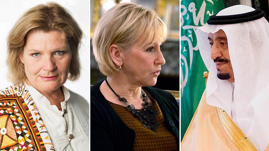 Cecilia Uddén, Margot Wallström (S) och Saudiarabiens Kung Abdallah. Foto: TT / Sveriges Radio