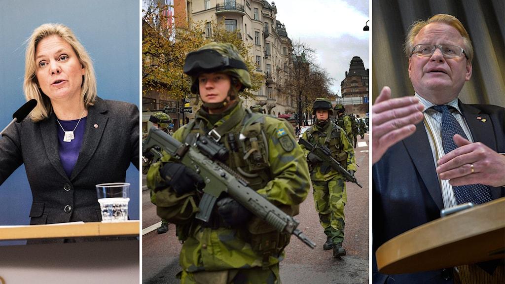 Magdalena Andersson (S) och Peter Hultqvist (S) om försvarsmakten. Foto: TT