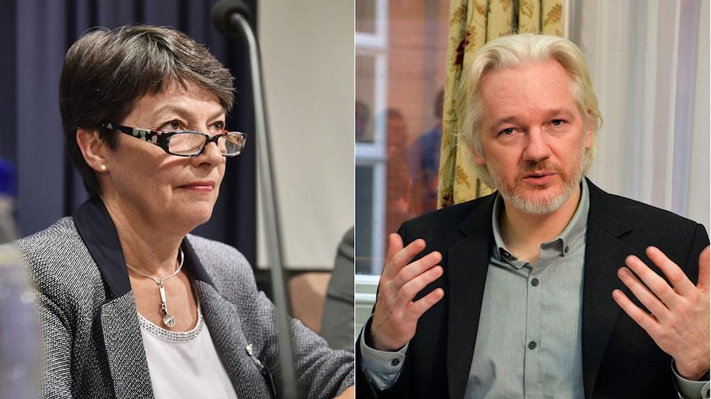 Överåklagare Marianne Ny och Wikileaksgrundaren Julian Assange. Foto: TT. Montage: Sveriges Radio.