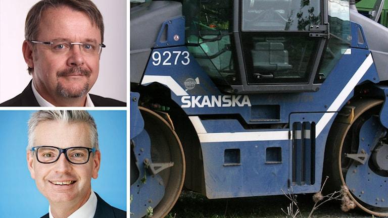 Dan Tok, Johan Karlström och en ångvält med Skanskas logotyp. Foto: Tjeckiens regering, Skanska samt Eklem/Flicker (CC BY 2.0)