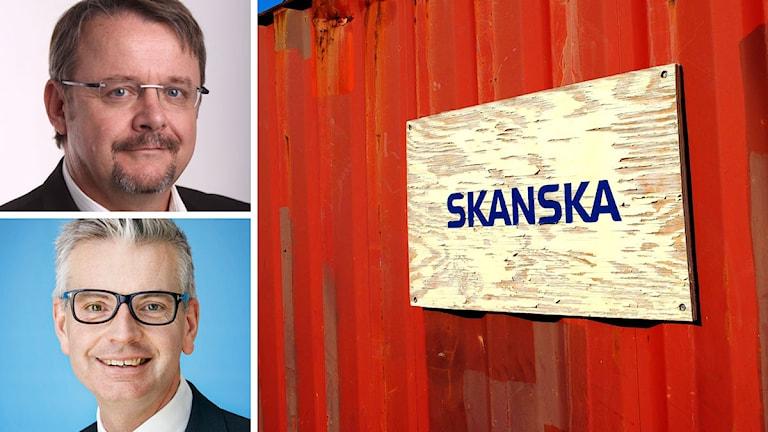 Dan Ťok, Johan Karlström, samt en Skanskaskylt. Foto: Tjeckiens regering, Skanska samt