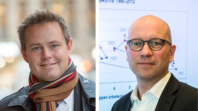 Saco:s Robert Boije och LO:s Ola Pettersson. Kollage/SR