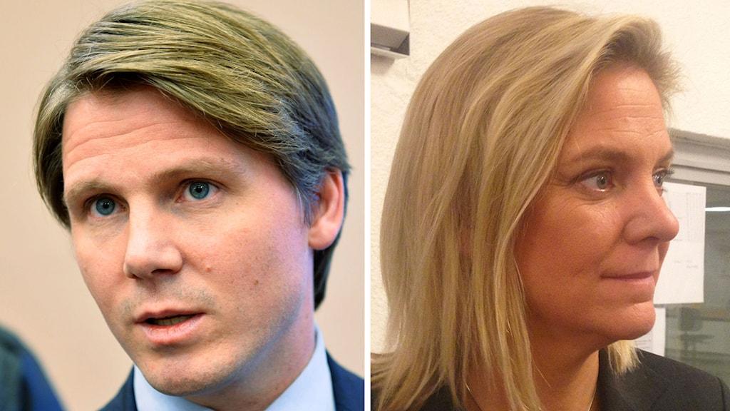 Erik Ullenhag (FP) och Magdalena Andersson (S). Kollage: SR