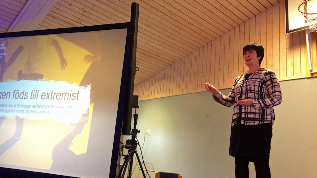 Mona Sahlin, nationell samordnare mot våldsbejakande extremism. Foto: Anna Bubenko/Sveriges Radio.