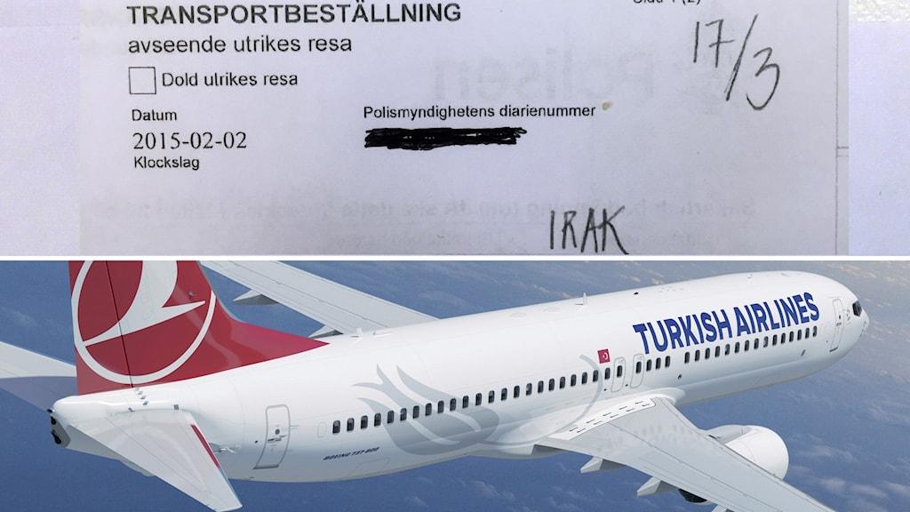 Utdrag ur transportbeställningen och ett flygplan från Turkish Airlines. Foto: Sveriges Radio samt Turkish Arilines.