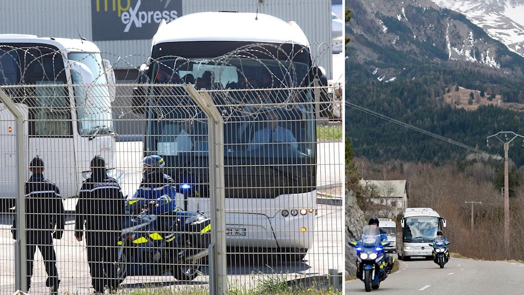 Anhöriga anländer till flygplatsen i Marseille efter flygkraschen i franska alperna. Foto: TT