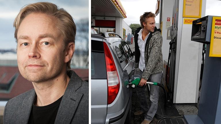 Fredrik Furtenbach och en man som tankar en bil. Kollage: Sveriges Radio
