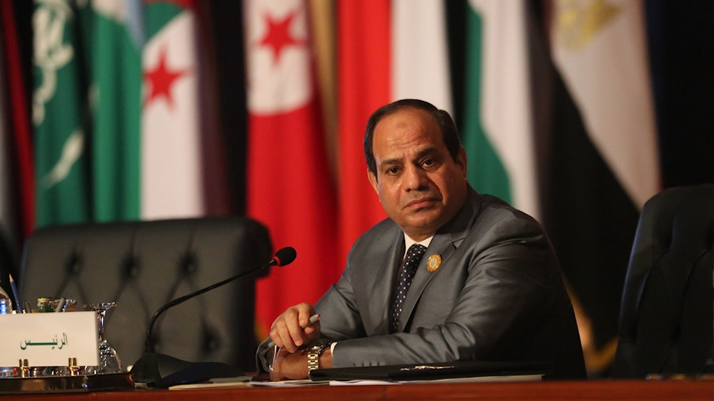 Egyptens president Abdel Fattah al-Sisi under mötet med Arabförbundet. Foto: Thomas Harwell/TT