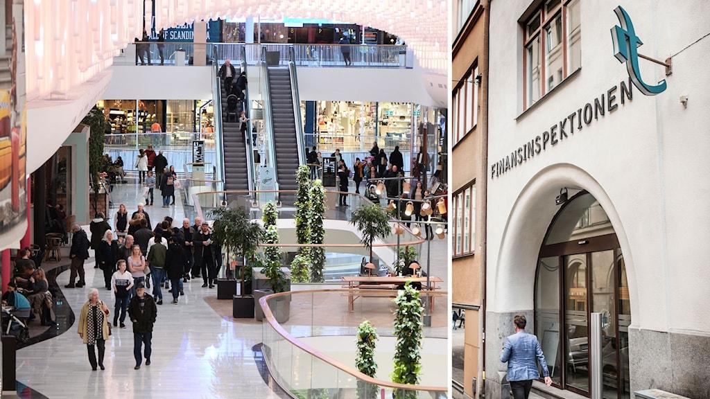 Bildmontage av Finansinspektionens logotyp och interiör från Mall of Scandinavia.