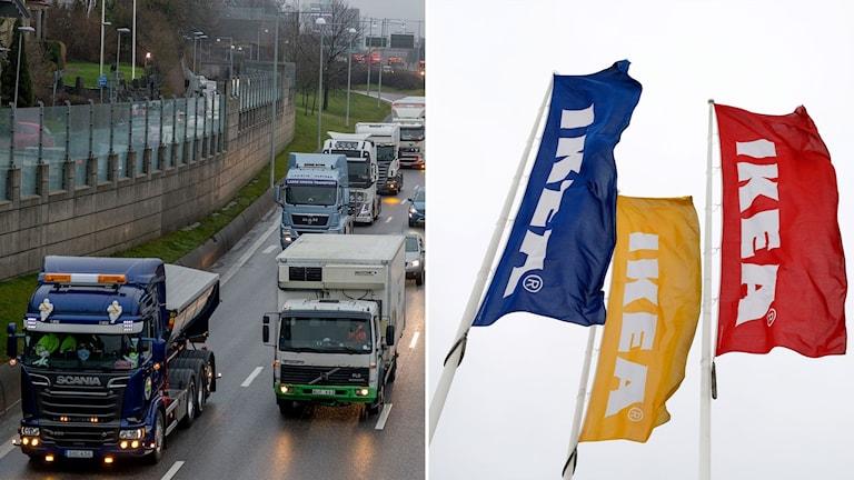 Lastbilschaufförer från Östeuropa transporterar Ikea-varor för låga månadslöner.