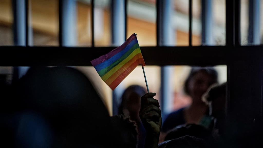 aktivist håller i regnbågsflagga.