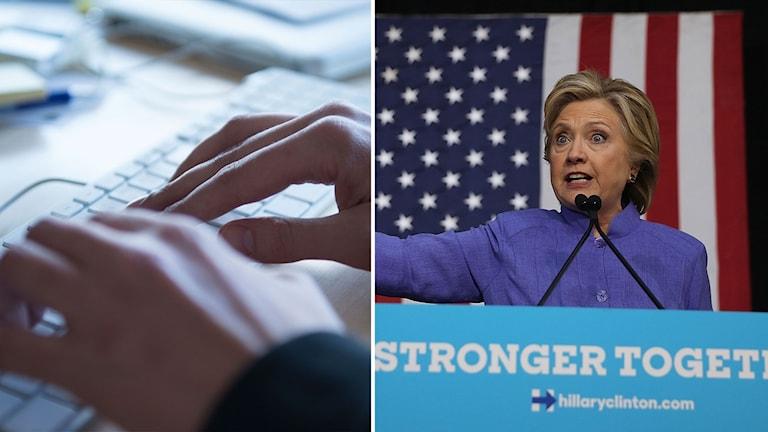 Bildmontage av Hillary Clinton i talarstolen samt händer vid ett tangentbord.