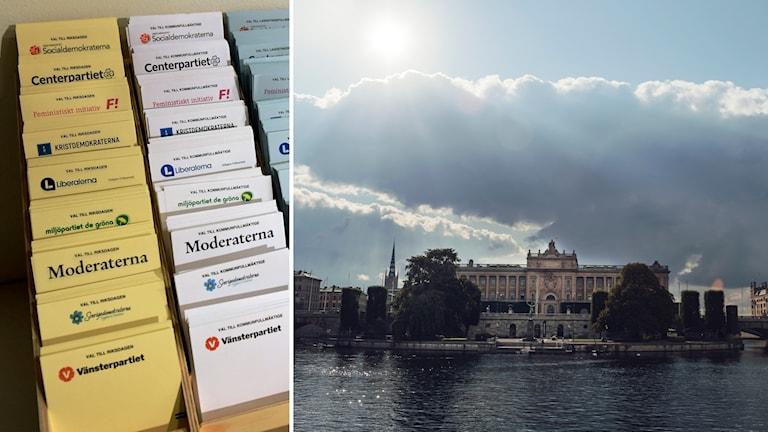 Delad bild: Valsedlar i en röstlokal, solsken över riksdagshuset i Stockholm.
