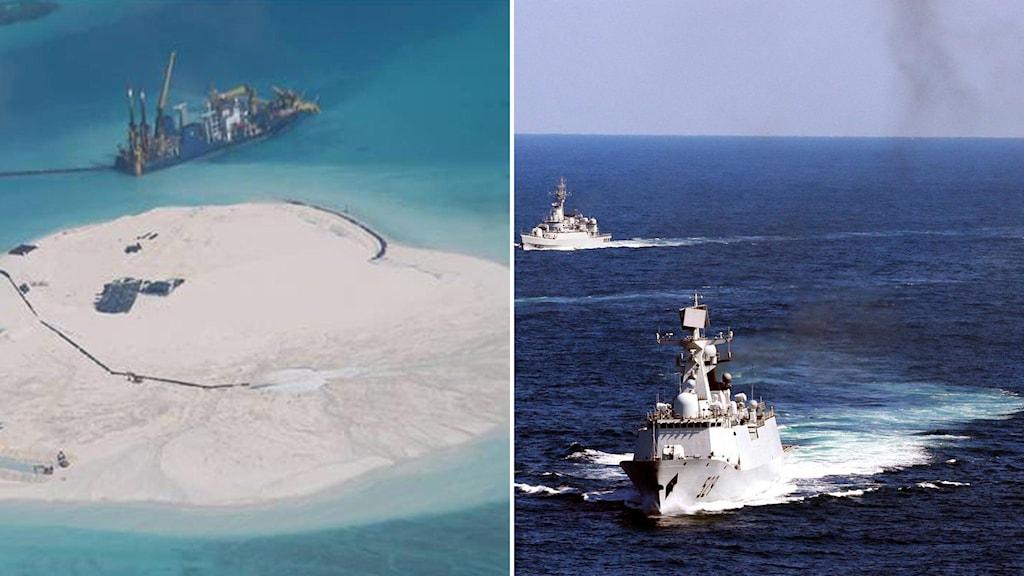 """Kina anklagas för att bygga en """"kinesisk mur av sand"""" i Sydkinesiska sjön. Foto: AP"""
