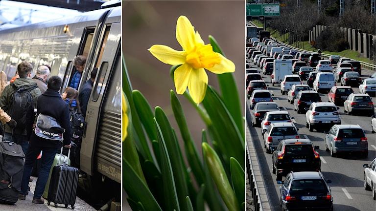 Påsk, trafik, tåg, bilar