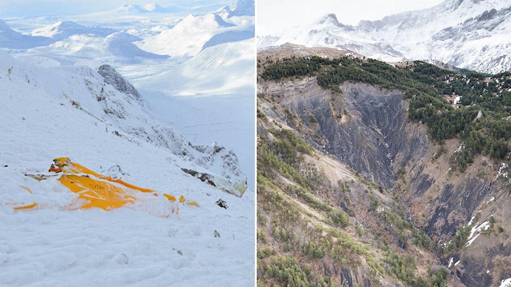 Olycksplatsen på Kebnekaise har många likheter med Seyne-les-Alpes i södra Alperna där Germanwingsplanet kraschade. Foto: Försvarsmakten, Fabrice Balsamo/TT.