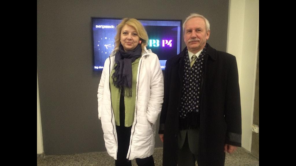 Journalisten Svjatlana Kalinkina och statsvetaren Valerij Karbalevitj från Vitryssland.