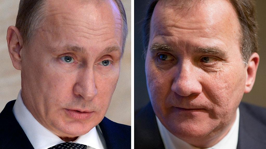 Delad bild: Vladimir Putin och Stefan Löfven. Foto: Alexei Nikolsky/AP samt Andrew Harnik/AP.